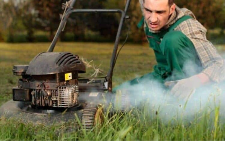 What do you do when your lawn mower starts smoking?