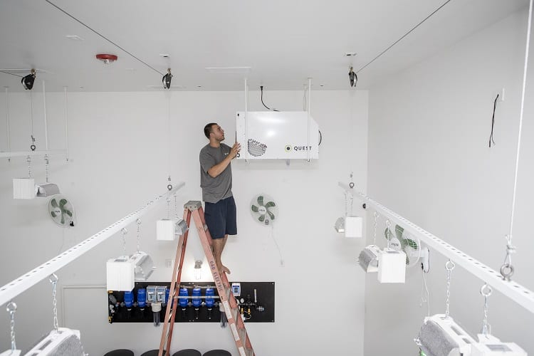 Man Setting Up Grow Room Air Conditioner